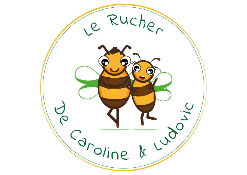 honey and bees logotype le rucher de caroline et ludovic